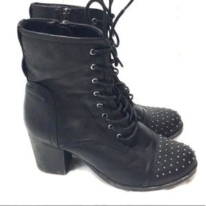 Call it Spring Black Leather Studded Heeled Boots